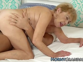 Blonde old lady spunked over