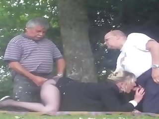 Old man group sex with once..