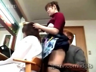 Mature Japanese hairdresser..