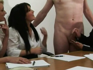 Hot office femdoms tugging..
