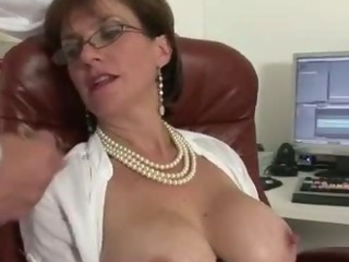 Mature stocking slut handjob..