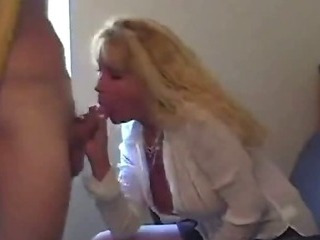 Mature hot secretary swallow..