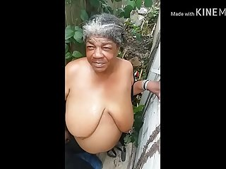 Trash granny get cumshot on..